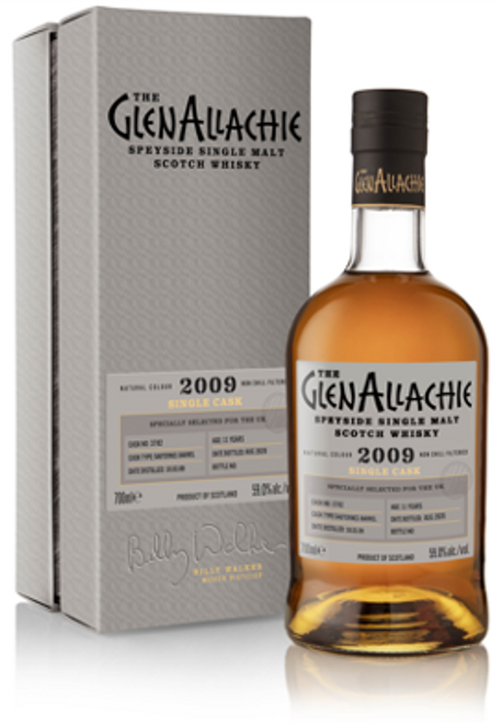 The Glenallachie 2009, Cask #3728, 11 Year Old, Sauternes Barrel, Speyside Single Malt Scotch Whisky,  700ml at 59% alc./vol.  www.maltsandspirits.com/the-glenallachie-cask-3728