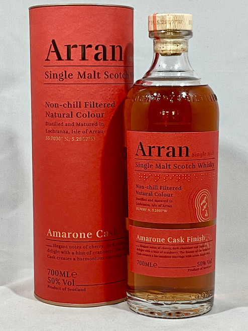 Arran Amarone Cask Finish, Limited Edition, Single Malt Scotch Whisky, 700ml at 50% alc./vol.  www.maltsandspirits.com/arran-amarone
