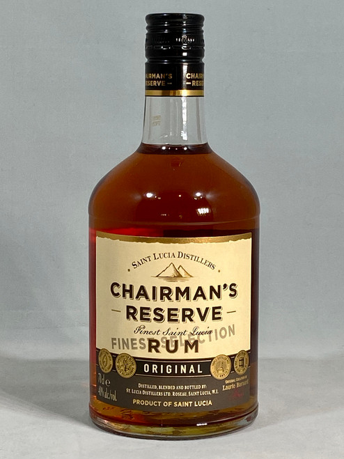 Chairman's Reserve Finest Original Rum, Produce of St Lucia, 70cl at 40% alc/vol.  www.maltsandspirits.com/chairman-s-reserve