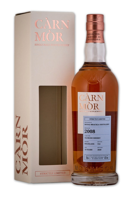 Royal Brackla 12 Year Old (2008) Oloroso Sherry, Càrn Mòr Strictly Limited Scotch Whisky.