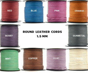 Aqua, 3 Meter 3 Yard Xsotica-Regular Shades Round Leather Cords-1.5 MM Leather Cord Round