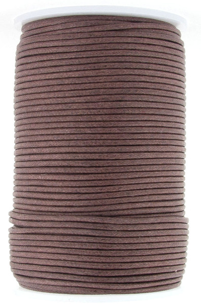 Brown Round Waxed Cotton Cord 2mm 100 meters