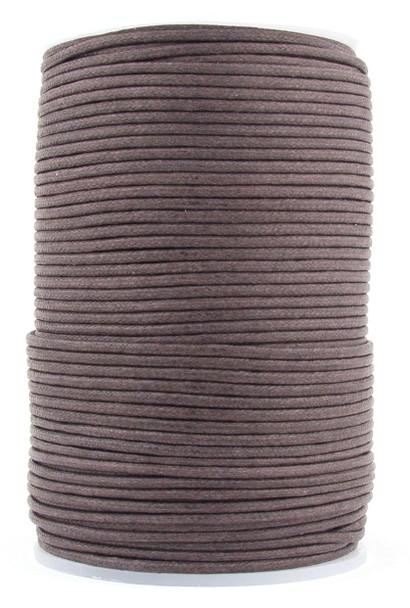 Dark Brown Round Waxed Cotton Cord 2mm 100 meters