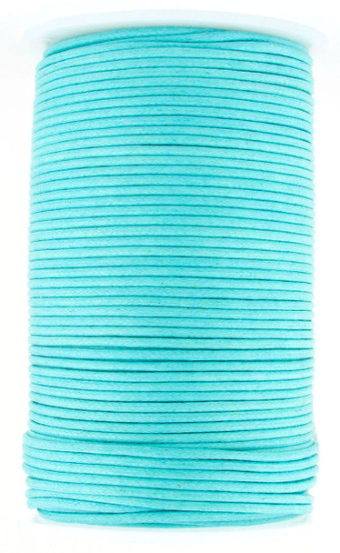 Sky Blue Round Waxed Cotton Cord 2mm 100 meters