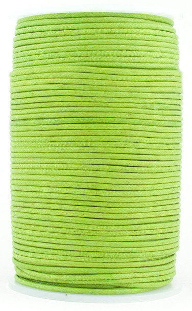 Lime Green Round Waxed Cotton Cord 2mm 100 meters