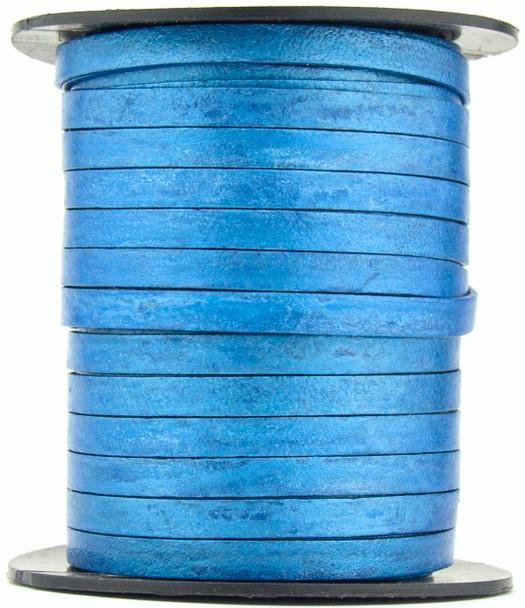 Blue Metallic Flat Leather Cord  5mm x 1mm - 1 Yard