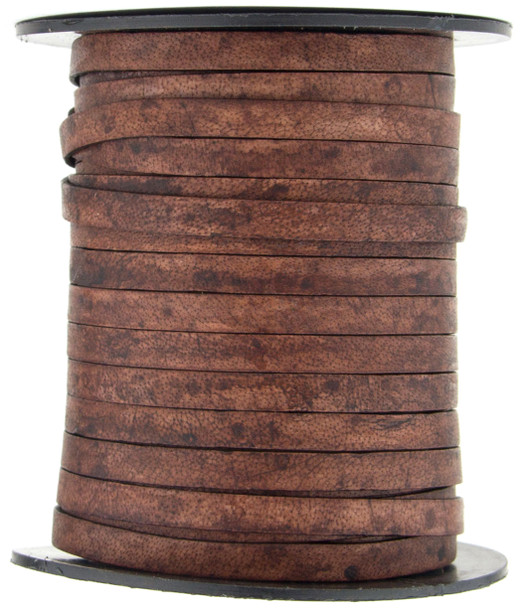 Brown Distressed Natural Dye Flat Leather Cord  5 mm 1 Yard