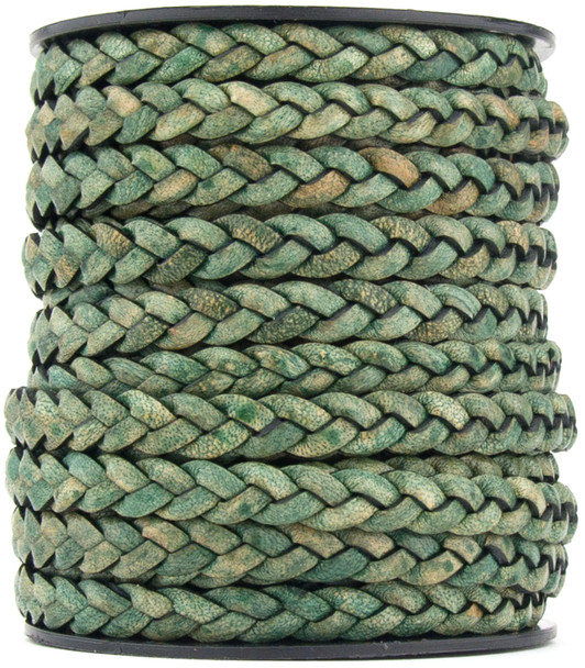 Desert Green Natural Dye Flat Braided Leather Cord 5 mm 1 Yard