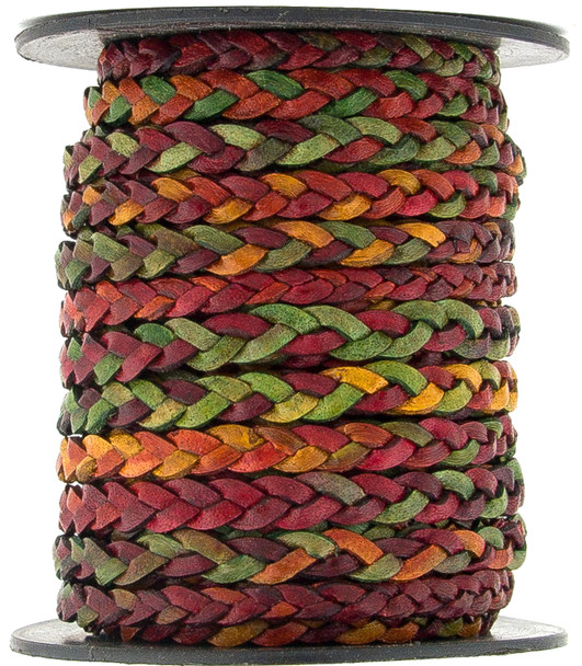 Kinte Gypsy Natural Dye Flat Braided Leather Cord 5 mm 1 Yard