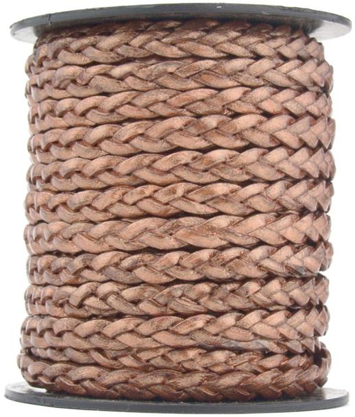 Copper Metallic Flat Braided Leather Cord 5 mm 1 Yard