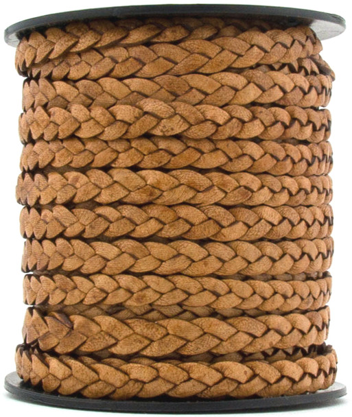 Tan Natural Dye Flat Braided Leather Cord 5 mm 1 Yard