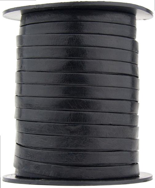 Black Flat Leather Cord  5 mm 1 Yard