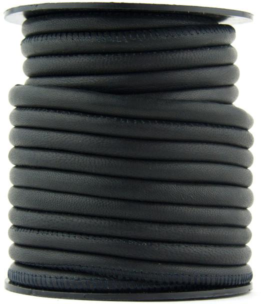 Black Nappa Stitched Round Leather Cord 3 mm 1 Yard