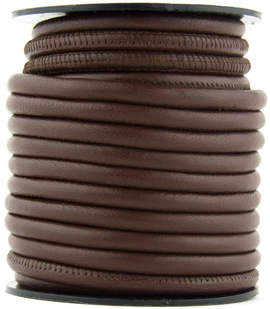 Brown Dark Nappa Stitched Round Leather Cord 3 mm 1 Yard
