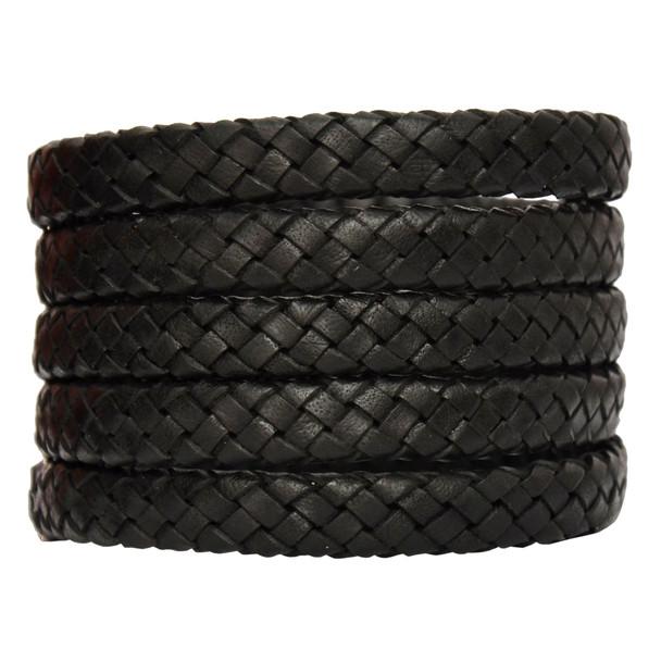 Black Natural Dye Flat Braided Bracelet Leather Cord 10 mm 1 Meter