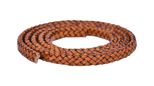 Brown Distressed Flat Braided Bracelet Leather Cord 10 mm 1 Meter