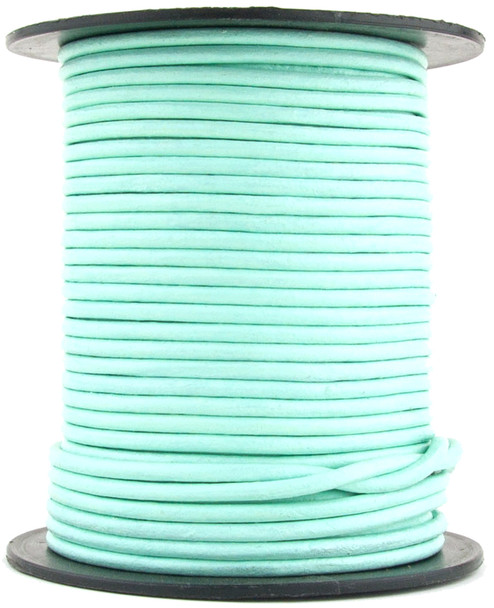 Aqua Round Leather Cord 1.5mm 100 meters