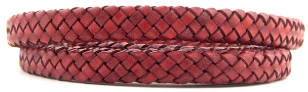 Red Natural Dye Flat Braided Bracelet Leather Cord 10 mm