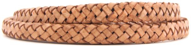 Tan Natural Dye Flat Braided Bracelet Leather Cord 10 mm