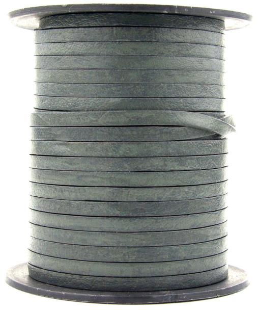 Gray Dark Flat Leather Cord  3 mm 1 Yard