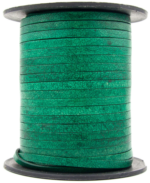 Sea Green Natural Flat Leather Cord 3mm 1 Yard
