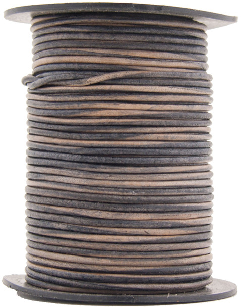 Natural Antique Gray Round Leather Cord 1.5mm 100 meters