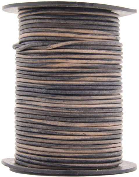 Natural Antique Gray Round Leather Cord 1.5mm 50 meters