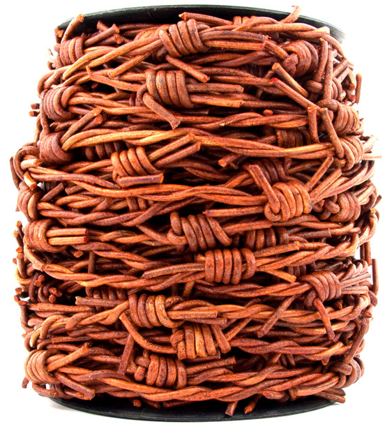 Distressed Light  Brown Barbed Wire Leather Cord-1 Meter