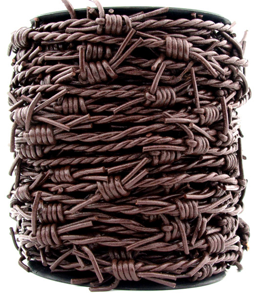 Dark Brown Barbed Wire Leather Cord-1 Meter