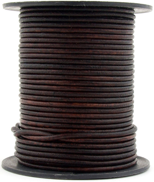Brown Mahogany Round Leather Cord 1.5mm 100 meters