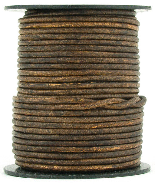 Brown Antique Round Leather Cord 1.5mm 100 meters