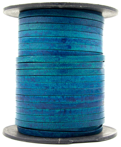 Turquoise Natural Flat Leather Cord 3mm 1 Yard