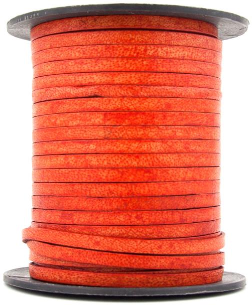 Orange Natural Flat Leather Cord 3mm 1 Yard