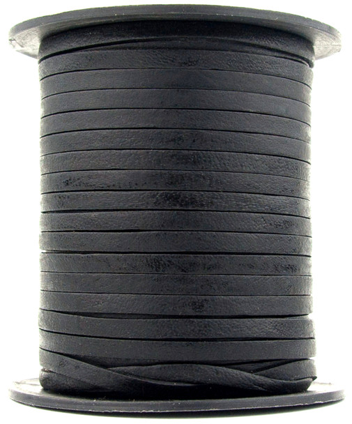 Black Natural Flat Leather Cord 3mm 1 Yard