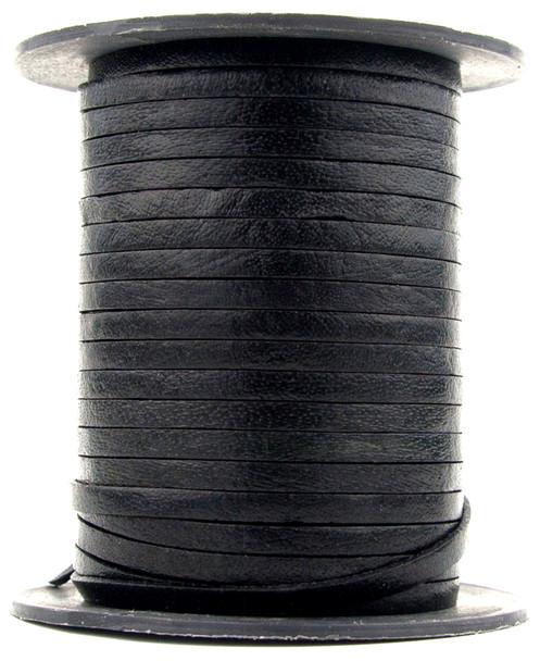 Black Flat Leather Cord 3mm 1 Yard