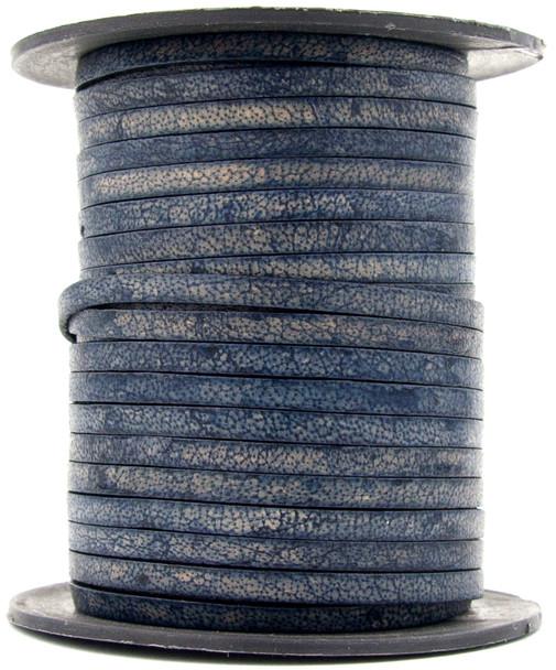 Midnight Blue Flat Leather Cord 3mm 1 Yard