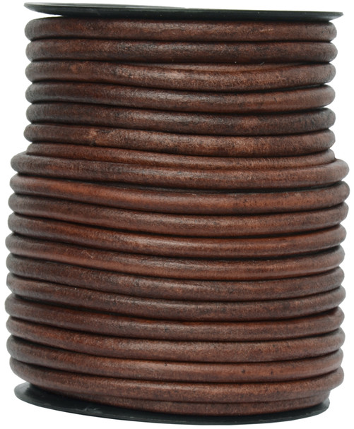 Distressed Brown Round Leather Cord 6.0mm 1 Yard