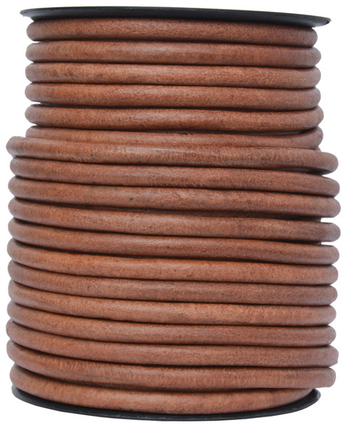 Distressed Light Brown Round Leather Cord 6.0mm 1 Yard