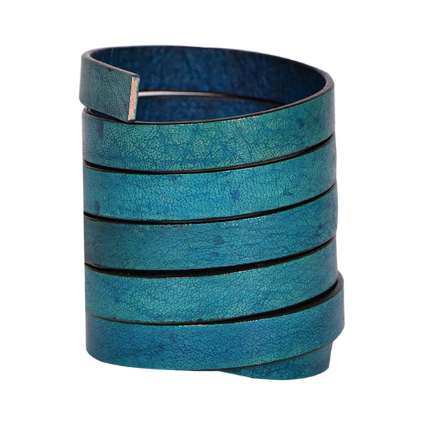 Xsotica-Natural Turquoise Flat Leather Cords With Black Edge 10.0 MM X 2.0 MM- 1 Yard