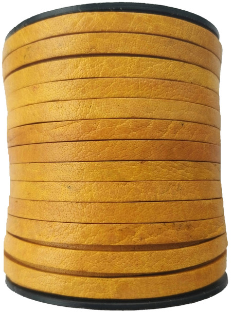 Natural Yellow Flat Leather Cord  5mm x 2mm - 1 Yard