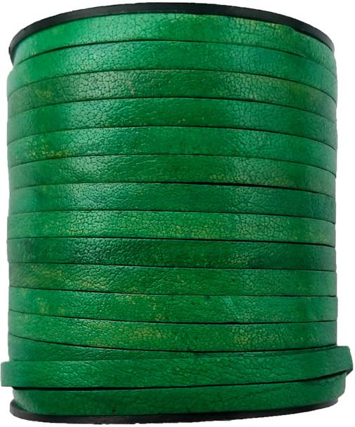 Sea Green Natural Flat Leather Cord  5mm x 2mm - 1 Yard