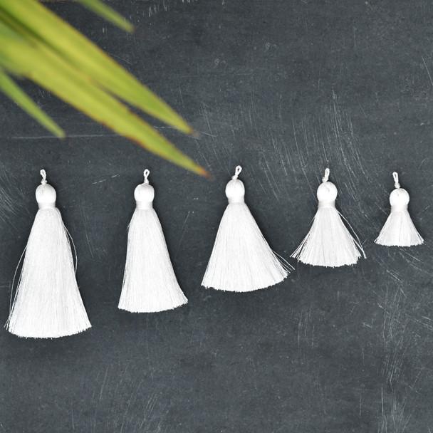 Silk Tassel,DIY Craft Supplies Handmade Jewelry Tassels - White Tassle / Tassles