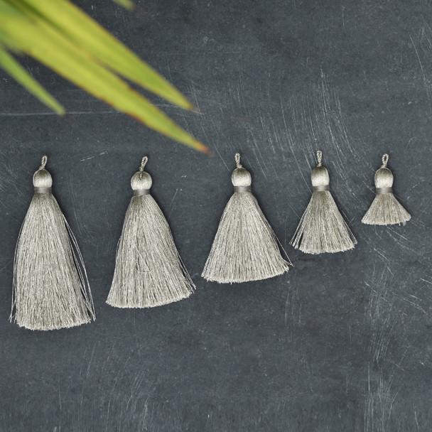 Silk Tassel,DIY Craft Supplies Handmade Jewelry Tassels - Gray Tassle / Tassles