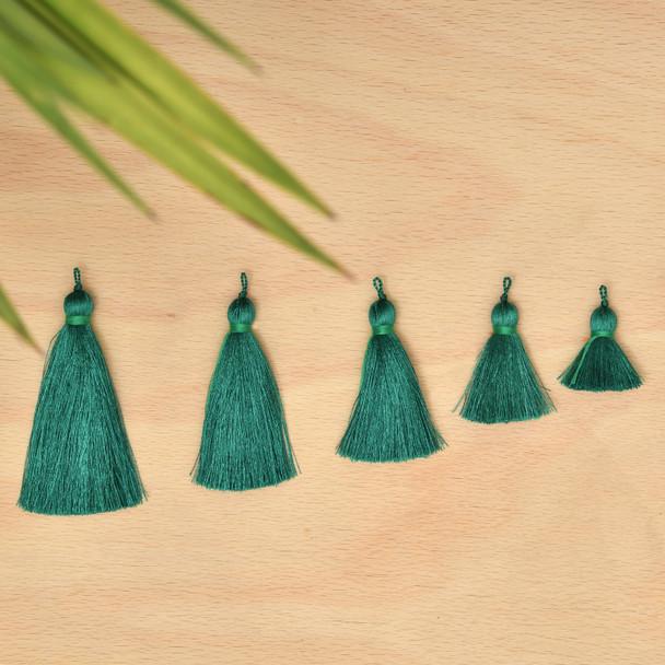 Silk Tassel,DIY Craft Supplies Handmade Jewelry Tassels - Dark Green Tassle / Tassles