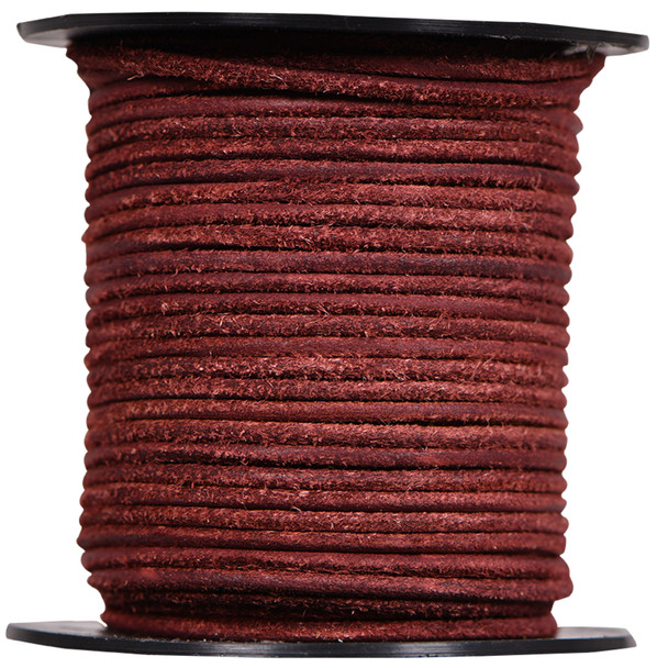 Round Suede Leather Cords- 2.0 MM -Burgundy-Choose Length