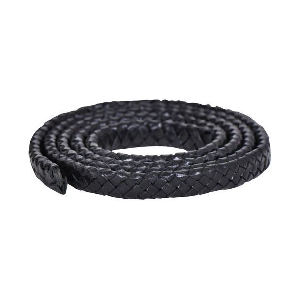 Black Flat Braided Bracelet Leather Cord 10 mm 1 Meter