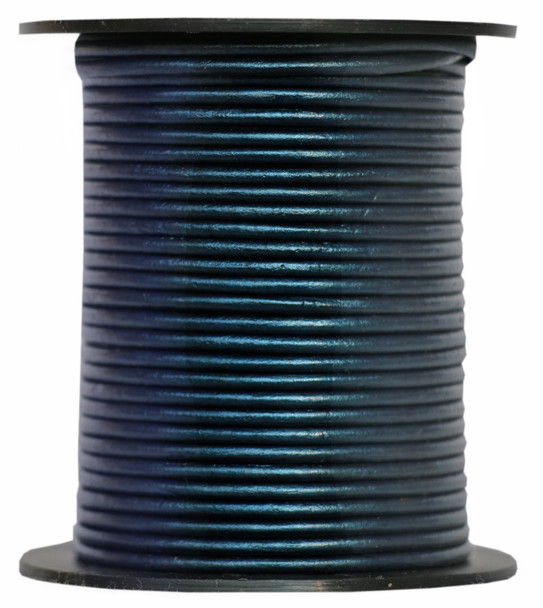 Navy Blue Metallic Round Leather Cord 1.5mm 10 meters
