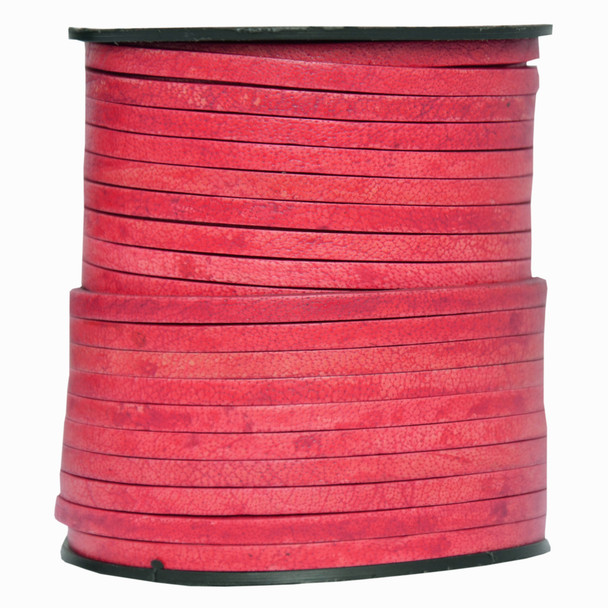 Red Natural Flat Leather Cord  3mm x 2mm - 1 Yard