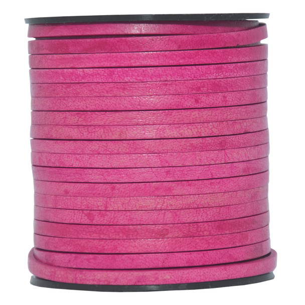 Pink Natural Flat Leather Cord  3mm x 2mm - 1 Yard