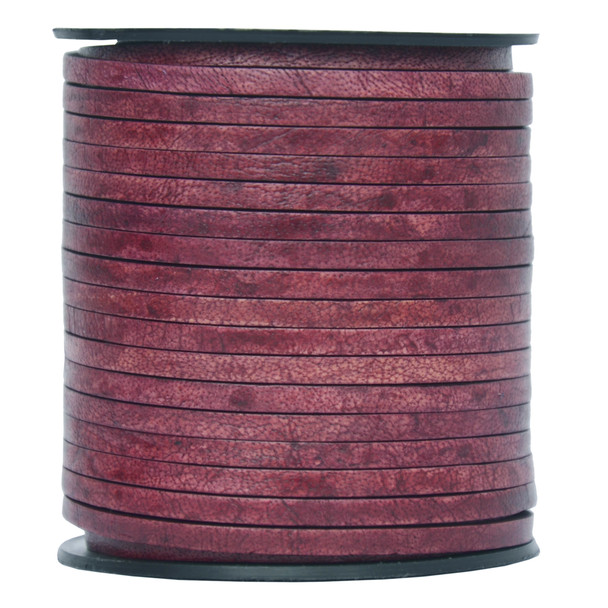 Red Wine Flat Leather Cord  3mm x 2mm - 1 Yard